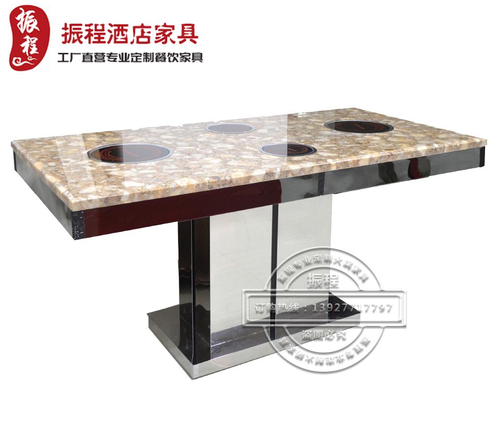 火锅桌-方桌-大理石面-不锈钢底架-电磁炉
