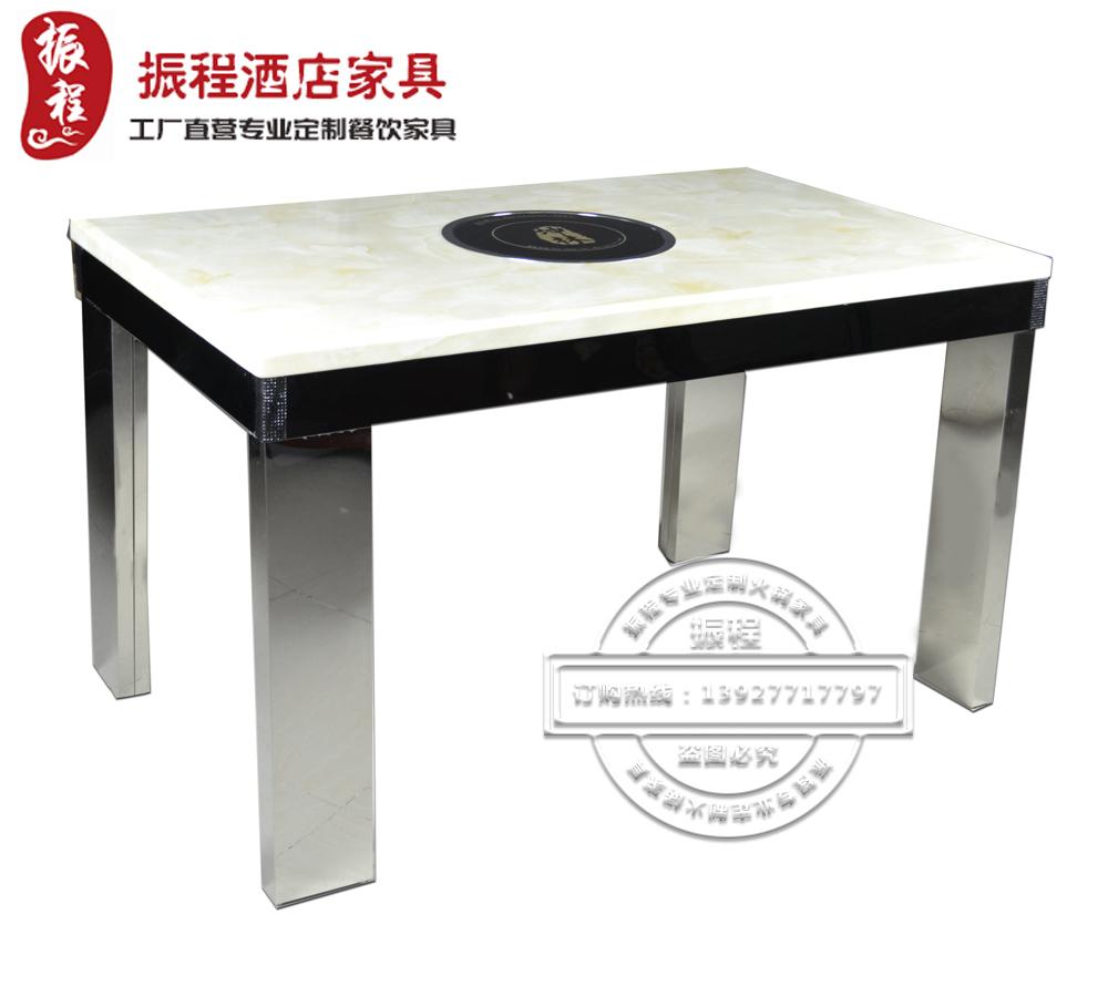 火锅桌-电磁炉-大理石-不锈钢-方桌
