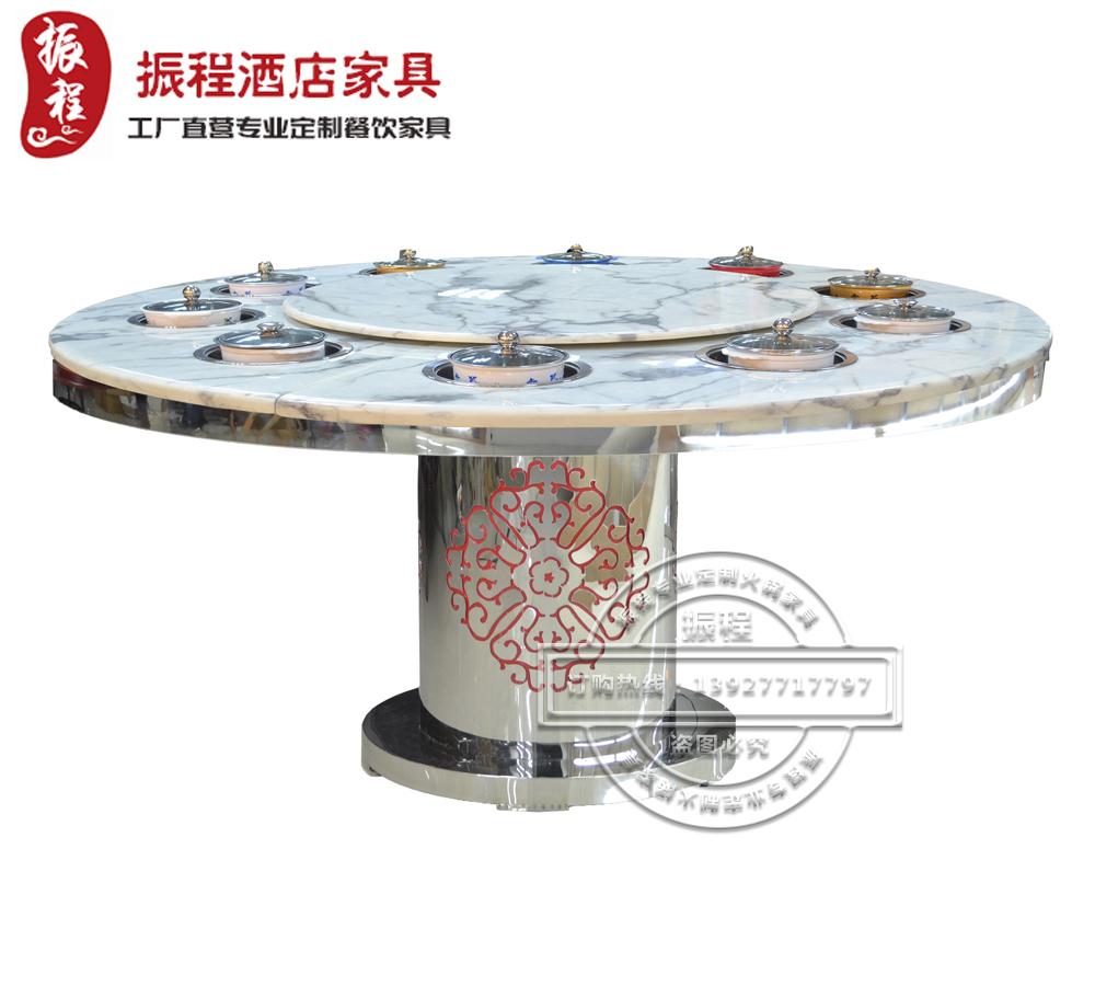 火锅桌-电磁炉-大理石-不锈钢-圆桌