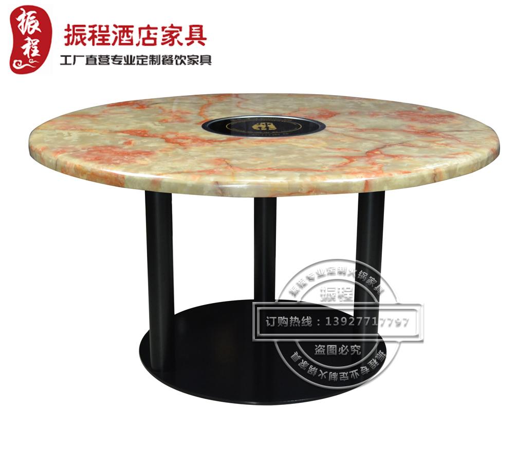 火锅桌-大理石-铁架-电磁炉-圆桌