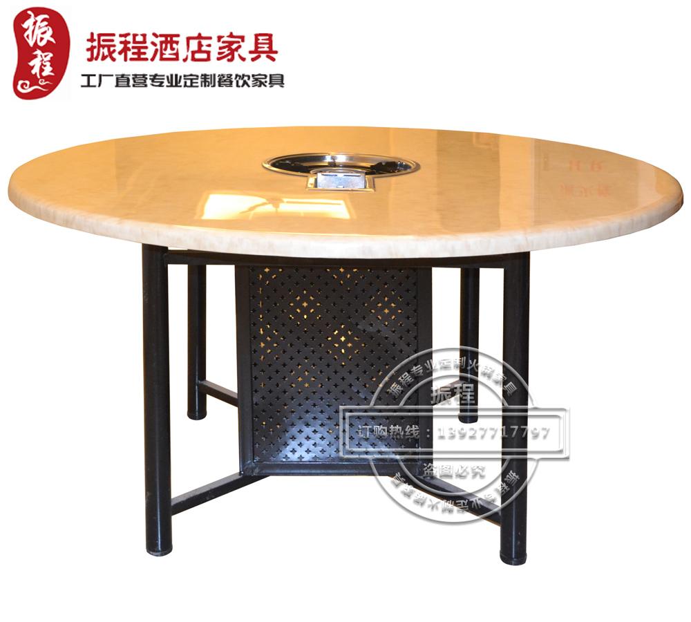 火锅桌-大理石-铁架-圆桌