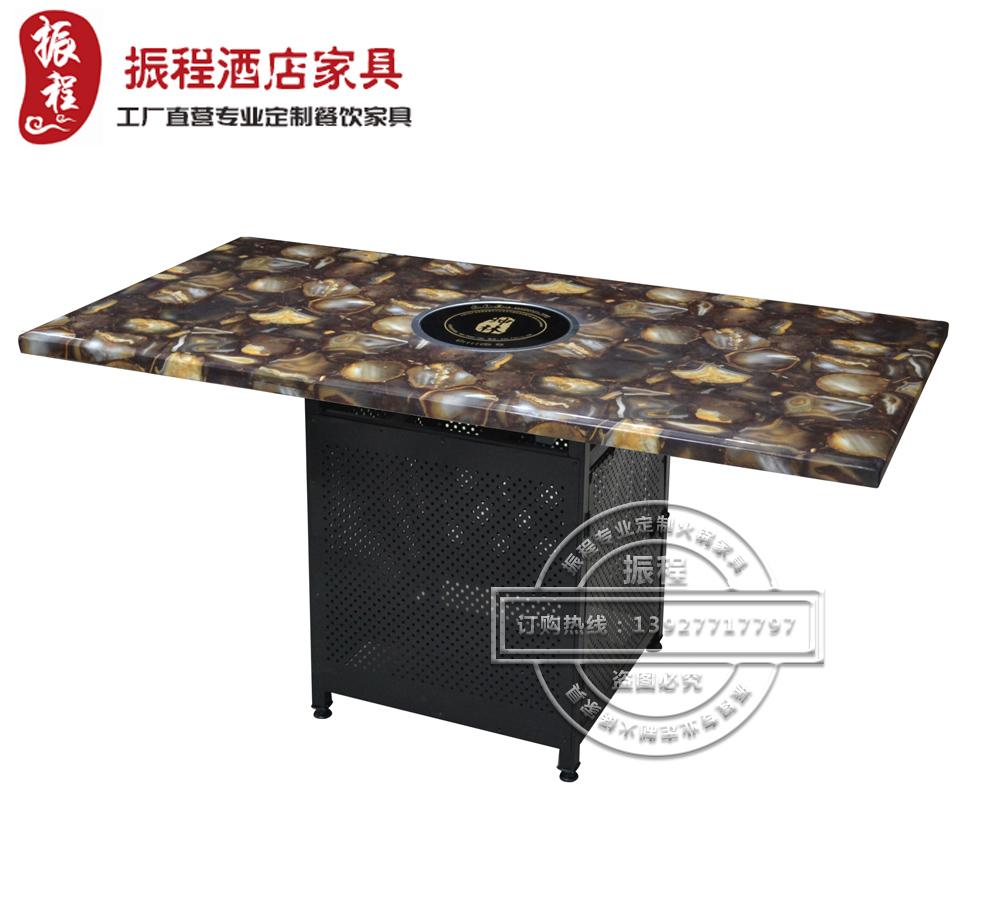 火锅餐桌-大理石-铁架-方桌